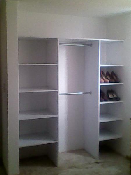 Interior de closet 2 mt melamina blanca instalado pachuca 1200 for Closet melamina